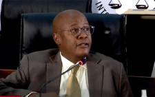 FILE: Brian Molefe appears at the state capture inquiry on 3 March 2021. Picture: SABC/YouTube.