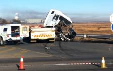 The badly damaged truck, involved in an early morning accident in Vereeniging, in which twelve people were killed. Picture: Rahima Essop/EWN.