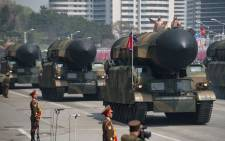 FILE: An unidentified rocket is displayed during a military parade marking the 105th anniversary of the birth of late North Korean leader Kim Il-Sung in Pyongyang on April 15, 2017. Picture: AFP