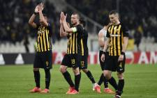 AEK's players applaud as they acknowledge their fans after the Uefa Europa League Group D football match between AEK Athens and AC Milan at the OAKA stadium in Athens on 2 November 2017. Picture: AFP