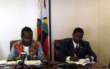 Indigenisation Minister Patrick Zhuwao (L) at a media briefing on 23 March 2016. Picture: Facebook.