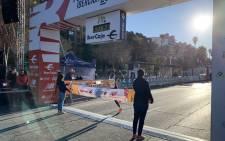 Kenya's Rhonex Kipruto crosses the finish line in Valencia on 12 January 2020. Picture: @10KValencia/Twitter