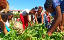 Children and adults tend vegetable gardens started by Nigel Jones and his Guardians of the National Treasure. Picture: Supplied