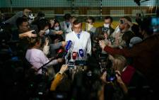 Alexander Murakhovsky, chief doctor at Omsk Emergency Hospital No. 1 where Alexei Navalny was admitted after he fell ill in what his spokeswoman said was a suspected poisoning, speaks to the media in Omsk on 21 August 2020. Picture: AFP