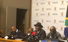 Minister of Police Bheki Cele briefs the media following the presentation to the portfolio committee on police on the 2017/2018 crime statistics on 11 September 2018. Picture: @SAgovnews/Twitter