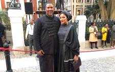 ANC MP Mandla Mandela and his wife Raabia arrive for Sona 2019. Picture: Bertram Malgas/EWN
