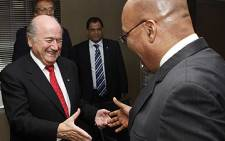 FIFA President Sepp Blatter meets ANC President Jacob Zuma at the Luthuli House in Johannesburg, South Africa on 17 September 2008. Picture: Chris Ricco/Backpagepix