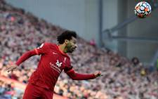Liverpool midfielder Mohamed Salah heads the ball during the English Premier League football match between Liverpool and Manchester City at Anfield on 3 October 2021. Picture: AFP