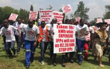 Protestors arrive at the Union Buildings in Pretoria to hand over a memorandum of demands. Picture: Kgothatso Mogale/EWN.