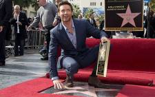 Hugh Jackman at the unveils his star on the Hollywood Walk of Fame. Picture: AFP