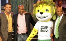 From left to right - Mark Fish, Vincent Masinga, Zakumi and transport minister Jeff Radebe during the launch of Zakumi the 2010 mascot at Auckland Park on 22 September 2008. Picture: Taurai Maduna/Eyewitness News