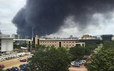 Durban  is seen engulfed in smoke as massive fire breaks out in Rossburgh. Picture: Supplied.