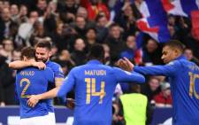 France's Olivier Giroud celebrates his goal with teammates in their UEFA Euro 2020 qualifier against Iceland on 25 March 2019. Picture: @UEFAEURO/Twitter