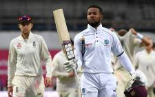 West Indies batsman Shai Hope raises his bat after anchoring his team's stunning win over England at Headingley on 29 August 2017. Picture: @westindies/Twitter
