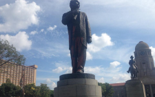 Martinus Wessel Pretorius statue covered in brown paint. Picture: Mia Lindeque/EWN