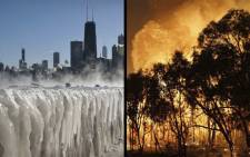A combination picture of the extreme weather conditions in the US and Australia. Picture: CNN