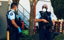 Police outside a supermarket in Auckland after an Islamic State-inspired attacker injured six people in a supermarket knife rampage. Picture: AFP