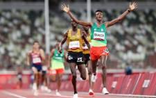 Ethiopian distance runner Selemon Barega wins 10,000m at the Tokyo Olympics. Pictures: @Olympics/ Twitter.