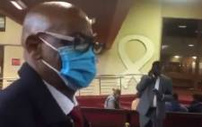 Suspended ANC SG Ace Magashule at the PMB High Court on Monday, 17 May 2021. Picture: Nkosikhona Duma/Eyewitness News/Screenshot