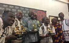 President Cyril Ramaphosa poses with members of Ladysmith Black Mambazo at the State Theatre in Pretoria, on 3 June 2018. Picture: Katleho Sekhotho/EWN
