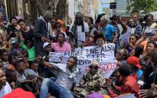 Hundreds of foreigners protest in Greenmarket Square in Cape Town on 18 December 2019. Picture: Kaylynn Palm/EWN