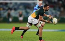 South Africa's Uzair Cassiem passes the ball during a match against the French Barbarians 16 June, 2017, in Durban. Picture: AFP