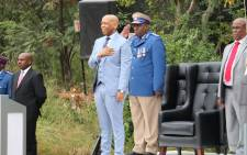 Tshwane Mayor Kgosientso Ramokgopa singing the national anthem ahead of his State of the City Address at Freedom Park on 21 April 2016. Picture: Facebook.