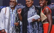 FILE: Dr John Kani, Connie Chiume and Lupita Nyong'o at the Black Panther Premier. Picture: Supplied