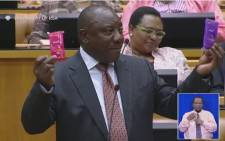 A screengrab of Deputy President Cyril Ramaphosa answering questions in Parliament.