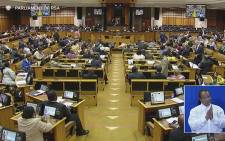 Members of Parliament up in arms as they insist the speaker of the house to leave. Picture: EWN.