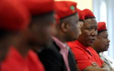 Economic Freedom Fighters (EFF) leader Julius Malema holds a news conference in Johannesburg on Thursday, 1 August 2013 on the outcomes of their recent national assembly. Picture: Werner Beukes/SAPA
