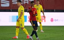 Spain's Ansu Fati (right) celebrates his goal against the Ukraine during their UEFA Nations League Group A match on 6 September 2020. Picture: @EURO2020/Twitter
