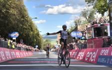 Team Qhubeka's Mauro Schmid celebrates winning the 11th stage of the Giro d'Italia on 19 May 2021. Picture: @giroditalia/Twitter
