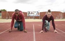 Youth Olympic gold medalist Luke Davids and EWN's Cato Louw get ready for a sprint. Picture: EWN