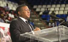 Sports Minister Fikile Mbalula addressed sports lovers gathered at Johannesburgs Standard Bank arena on 30 October 2014 for a combined memorial service for former Bafana Bafana captain Senzo Meyiwa, boxer Phindile Mwelase and former world 800 metre champion Mbulaeni Mulaudzi. Picture: Reinart Toerien/EWN
