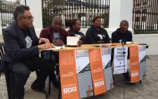 Ndifuna Ukwazi's Zackie Achmat and members outside Parlaiment in Cape Town to voice their concerns regarding the Khayelitsha policing inquiry recommendations which are yet to be implemented a year later. Picture: Ndifuna Ukwazi/Facebook.