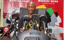 CWU general secretary Aubrey Tshabalala addressing the media in Johannesburg on 19 November 2020 on the union's strike action at the SABC. Picture: @_cosatu/Twitter.