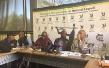 MK National Council Steering Committee briefing the media on steps taken with MKMVA and MK Council regarding the conference. Picture: Masa Kekana/EWN.
