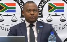 A screengrab of MNS Attorneys' Thobani Mnyandu appearing at the state capture inquiry on 30 May 2019.