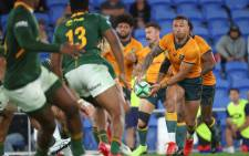 Australia's Quade Cooper passes the ball during the Rugby Championship match against South Africa at Cbus Super Stadium in Gold Coast on 12 September 2021. Picture: AFP