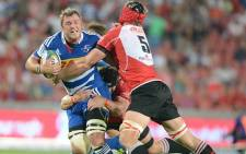 FILE: Stormers eighth man Duane Vermeulen is tackled by two Lions players during the Stormers 34-10 defeat. Picture: Facebook.