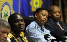 FILE: National police commissioner Riah Phiyega at a briefing following the fatal shooting of Bafana Bafana captain Senzo Meyiwa in Johannesburg on 27 October 2014. Sapa.