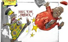 Get out: Julius Malema gets kicked out of Parliament - again. This cartoon was first published in the City Press newspaper.