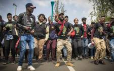 Students at Wits protest on campus after Minister of Higher Education Blade Nzimande failed to deliver a free tertiary education policy. Picture: Thomas Holder/EWN.