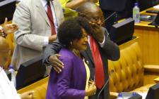 Cyril Ramaphosa reacts as he hugs National Assembly Speaker Baleka Mbete after being elected by the members of Parliament prior to his swearing in as South Africa's new president. Picture: AFP.
