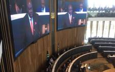 Johannesburg's Finance MMC Rabelani Dagada delivering his first budget speech. Picture: Gia Nicolaides/EWN.