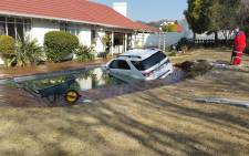 Picture: This vehicle owner took the car for a dip in someone's swimming pool in Roosevelt Park. Picture: ER24.