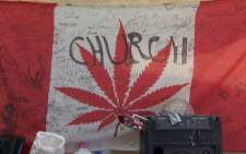City orders church tent devoted to cannabis smoking taken down in British Columbia. Picture: CNN