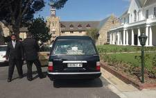 James Thomas's coffin arrives at the Chapel of Bishops College on 2 October 2013. Picture: Carmel Loggenberg/EWN