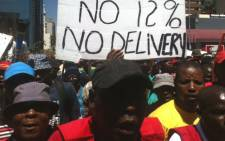 Hundreds of Satawu members demonstrated in the Johannesburg CBD on 2 October, 2012. Truck drivers embarked on a strike on 24 October, demanding a salary increase of 12 percent, a strike laced with violence. Picture: Taurai Maduna/EWN.